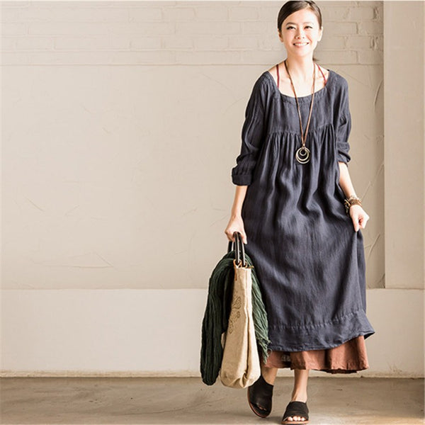 Dress - Women Long Sleeve Cotton Linen Loose Square Collar Dress