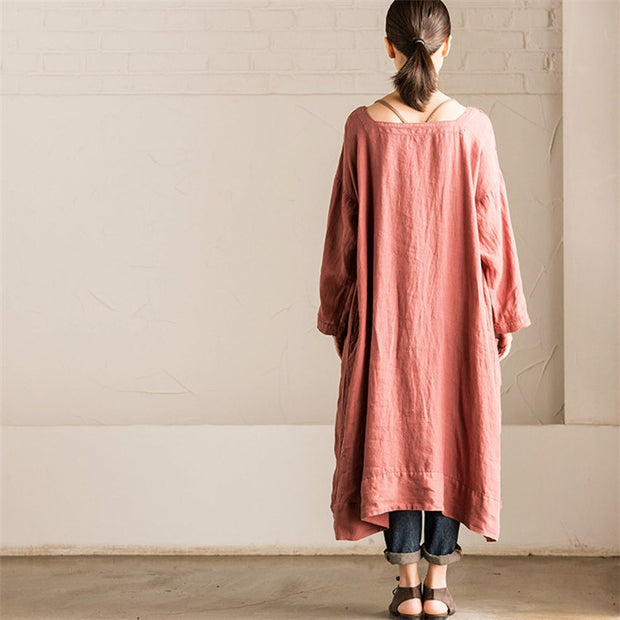 Women long sleeve cotton Linen loose square collar dress - Buykud