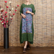 Women long sleeve ethnic style green printing stitching loose linen long dresses - Buykud