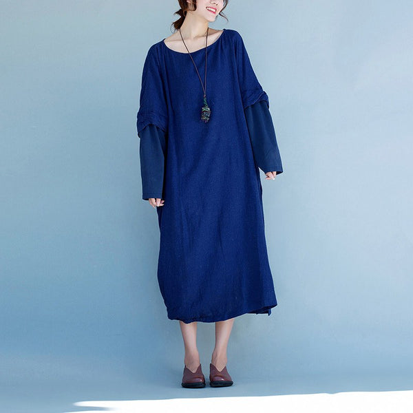 Dress - Women Long Sleeve  Linen Loose Dress