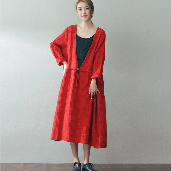 Women long sleeve loose plaid deep v neck pullover red cotton dress - Buykud