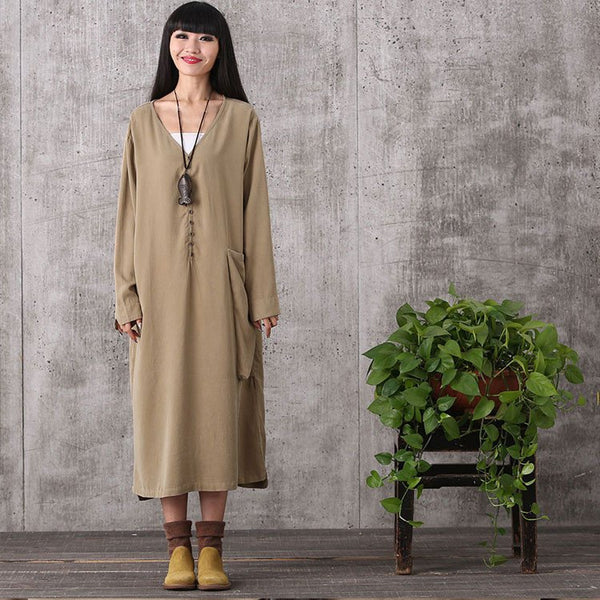 Dress - Women Long Sleeve Loose Pullover Cotton Linen Dress