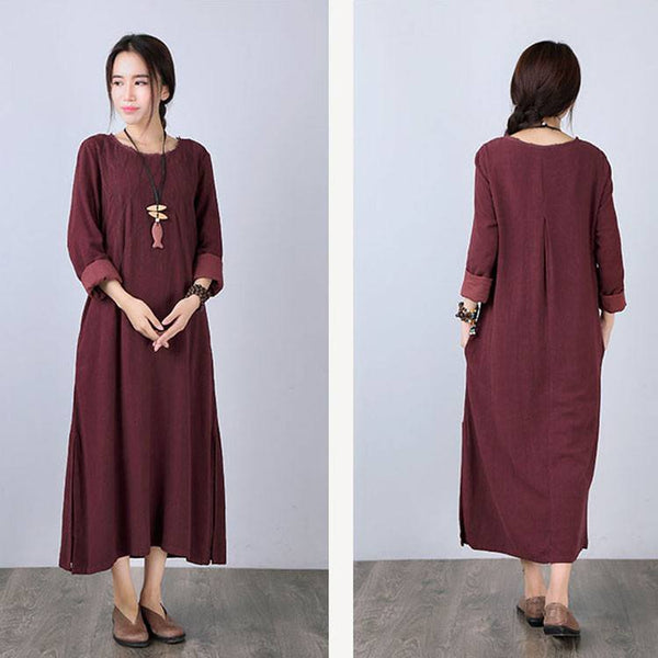 Dress - Women Long Sleeve Loose Pullover Cotton Linen Red Hem Dress