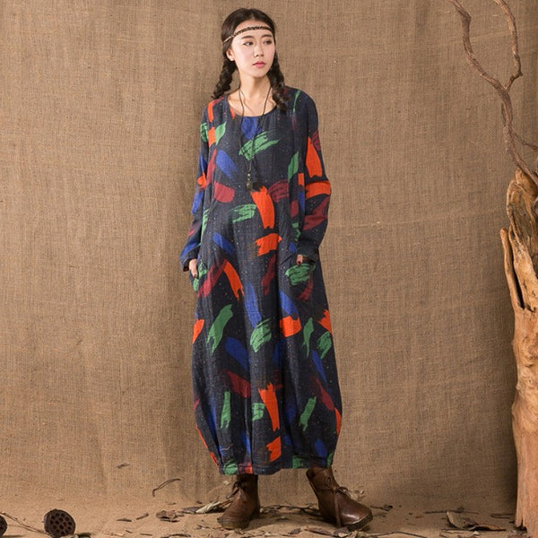 Dress - Women Long Sleeve Printing Loose Cotton Linen Dress