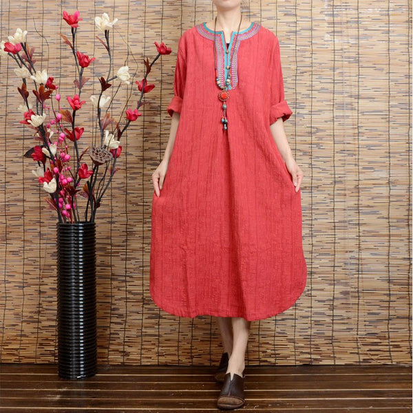 Women long sleeve red loose ethnic style irregular linen dresses with pockets - Buykud