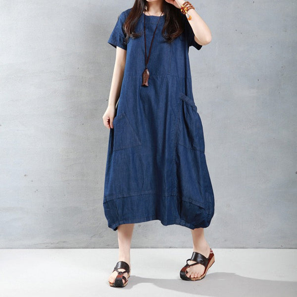 Dress - Women Loose Cotton Short Sleeve Denim Dress