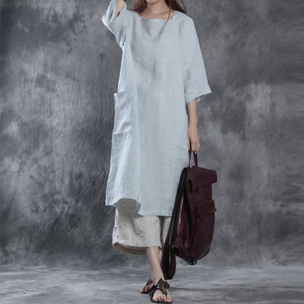 Dress - Women Loose Pullover Linen Dress