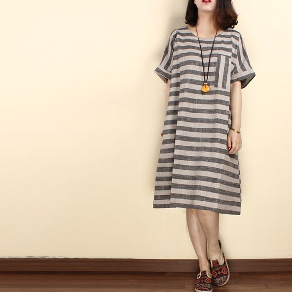Women loose summer linen stripe dress - Buykud