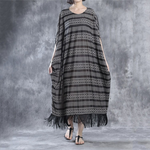 Dress - Women Loose Vintage Fringed Hem Dress