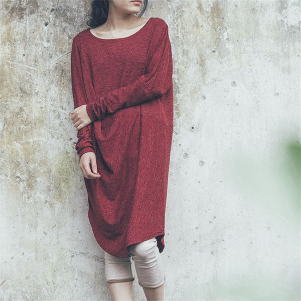 Dress - Women Loose Vintage Long Sleeve Dress