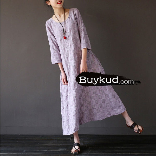 Dress - Women Purple Summer Cotton Linen Loose Dress