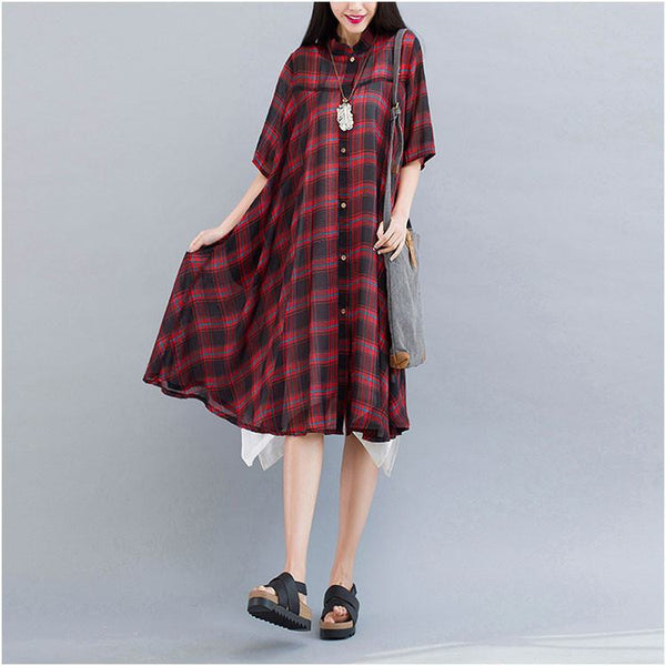 Women Red plaid long summer casual short-sleeved dress - Buykud