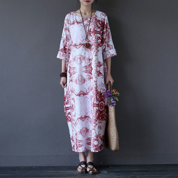 Dress - Women  Red  Printing Summer Cotton Linen Dress