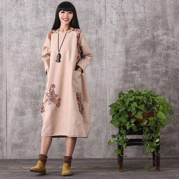 Women retro style loose pullover cotton linen dress - Buykud