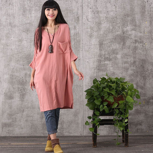 Dress - Women Retro Style Loose Pullover Cotton Linen Dress