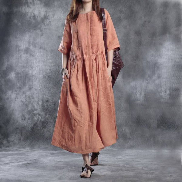 Dress - Women Retro Style Loose Silk Dress
