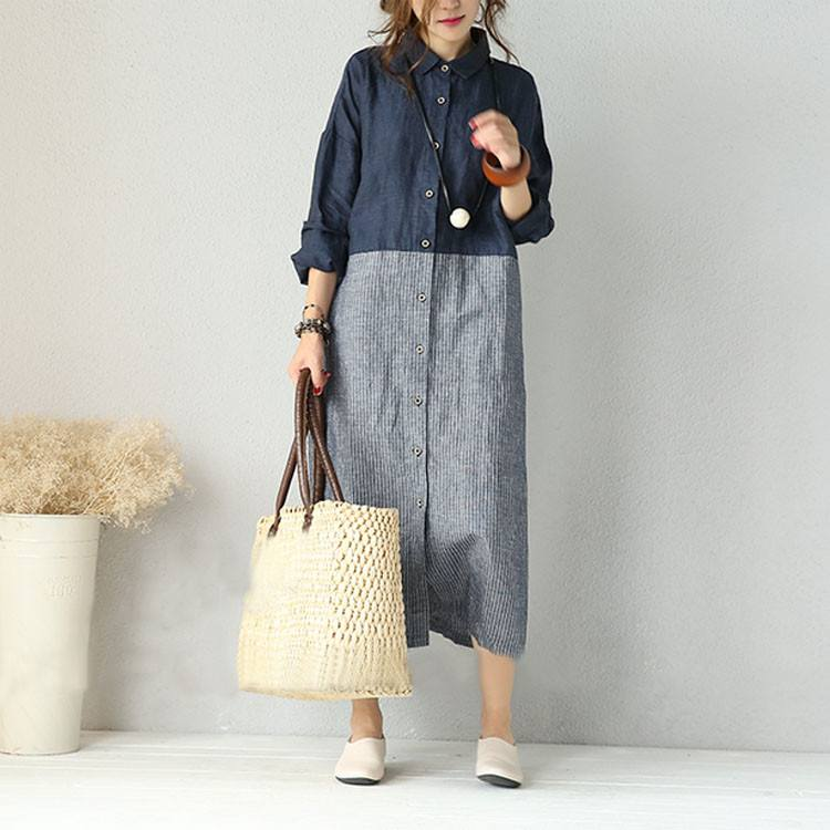 Dress - Women Retro Style Stripe Stitching Mixed Color Cardigan Linen Shirt Dress With Pockets
