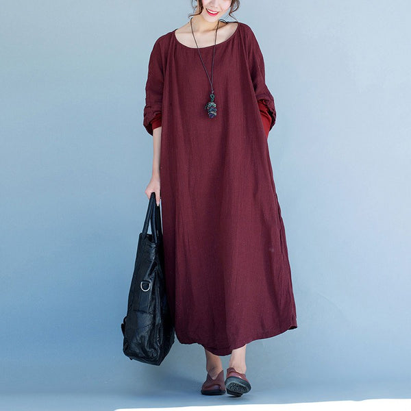 Dress - Women Round Collar Linen Loose Dress