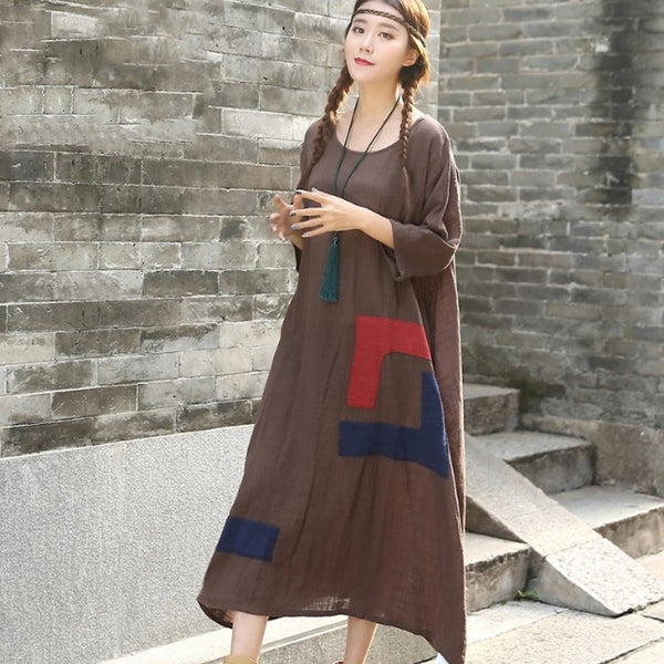 Women's 3/4 sleeve casual loose cotton linen dress - Buykud