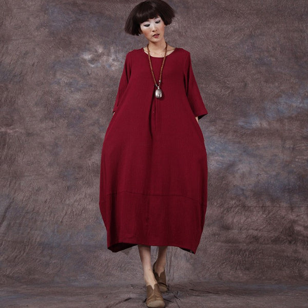 Dress - Women's 3/4 Sleeve Retro Style Loose Cotton Dress