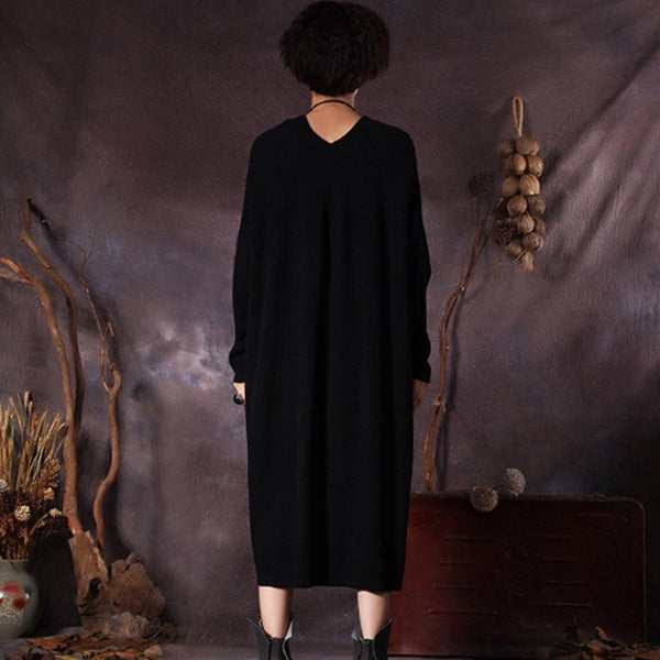 Women's casual long sleeve pullover cotton blend dress - Buykud