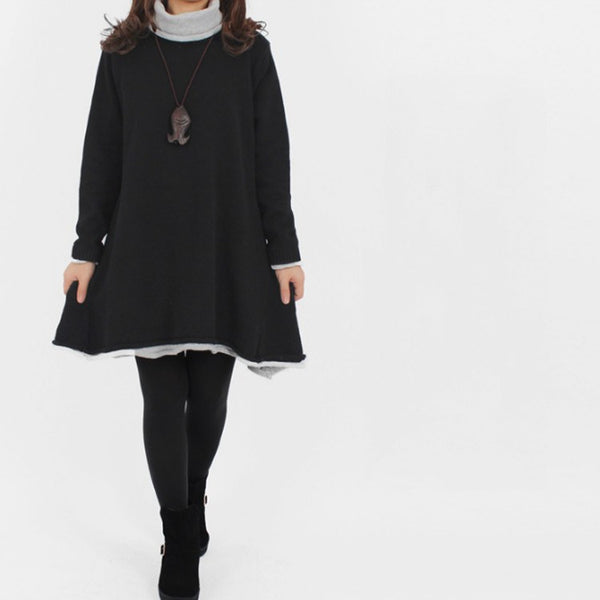 Dress - Women's High Neck Pullover Cotton Knitting Sweater Dress