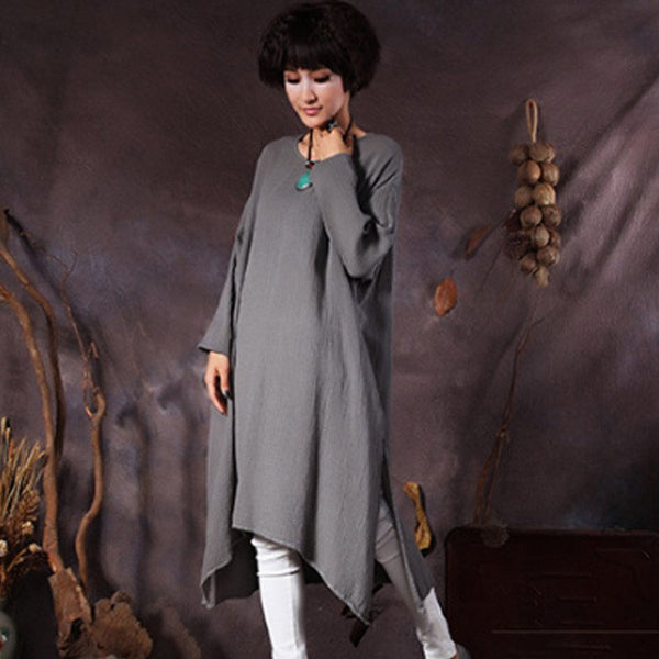 Women's long sleeve irregular loose cotton dress - Buykud