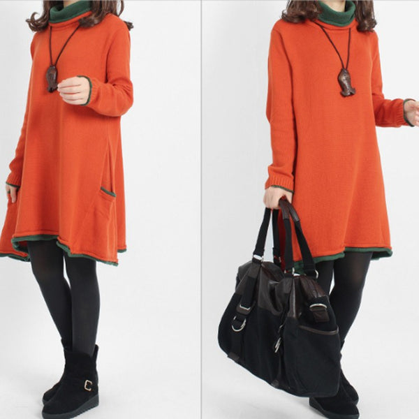 Dress - Women's Long Sleeve Loose Cotton Sweater Knitting  Dress