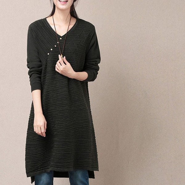 Dress - Women's Long Sleeve Pullover Cotton  Sweater Knitting Dress