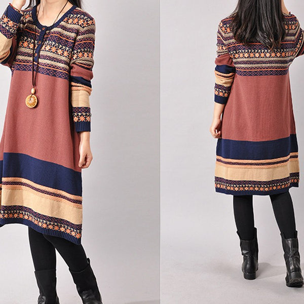 Dress - Women's Long Sleeve Stripe Loose Cotton Sweater Knitting Dress