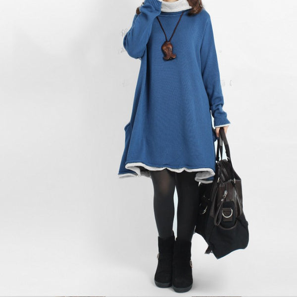 Dress - Women's Loose Pullover Cotton Knitting Dress