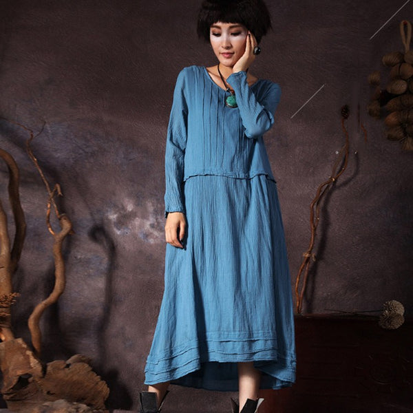 Dress - Women's Retro Style Irregular Loose Cotton Dress