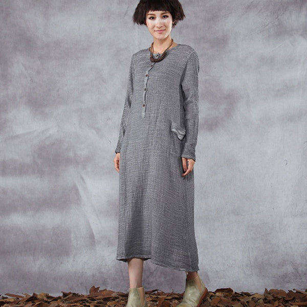 Dress - Women's Retro Style Long Sleeve Loose Pullover Cotton Linen Dress