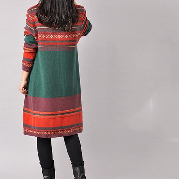 Dress - Women's Retro Style Pullover Cotton Knitting Dress