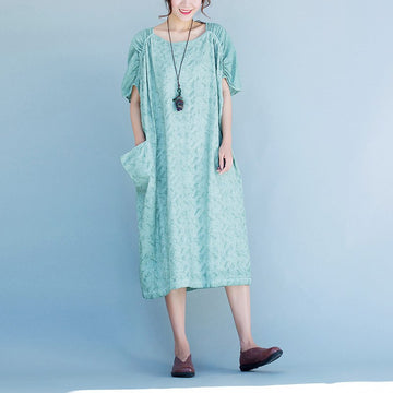 Women short sleeve Cotton linen dress - Buykud