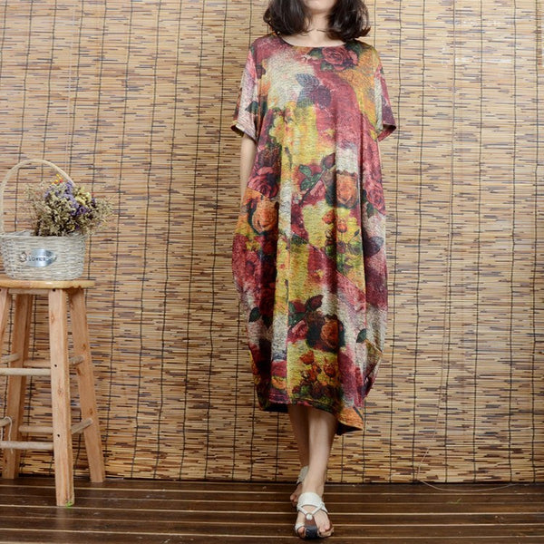 Women short sleeve cotton  printing dress - Buykud