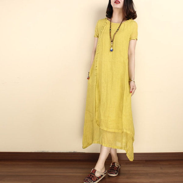 Dress - Women Solid Color  Linen Short Sleeve Gown