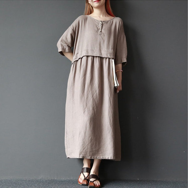 Dress - Women Solid Color Summer Cotton Linen Loose Dress