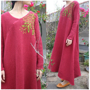 Women spring cotton linen embriodery dress - Buykud