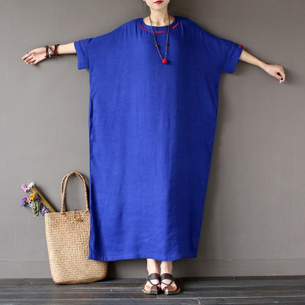 Dress - Women Spring Cotton Linen Embriodery Loose Dress