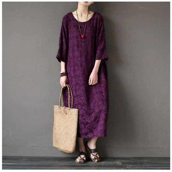 Women spring cotton vintage loose dress - Buykud