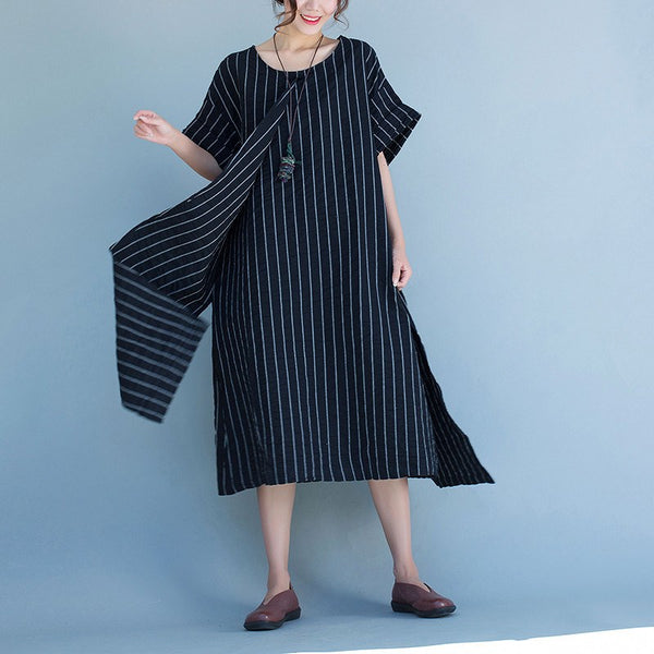 Dress - Women Stripe Linen Short Sleeve Dress