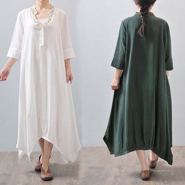 Dress - Women Summer 3/4 Sleeve Loose Cotton Linen Dress