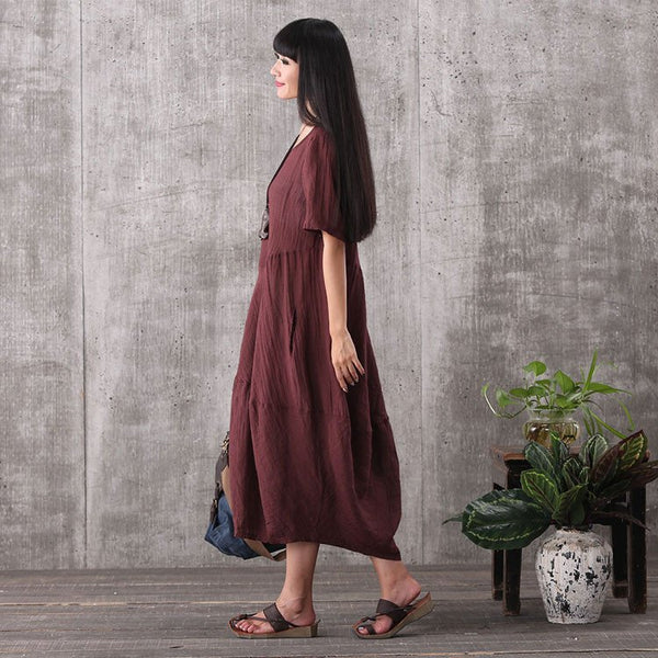 Women summer brown short sleeve vintage loose pullover linen dresses with pockets - Buykud