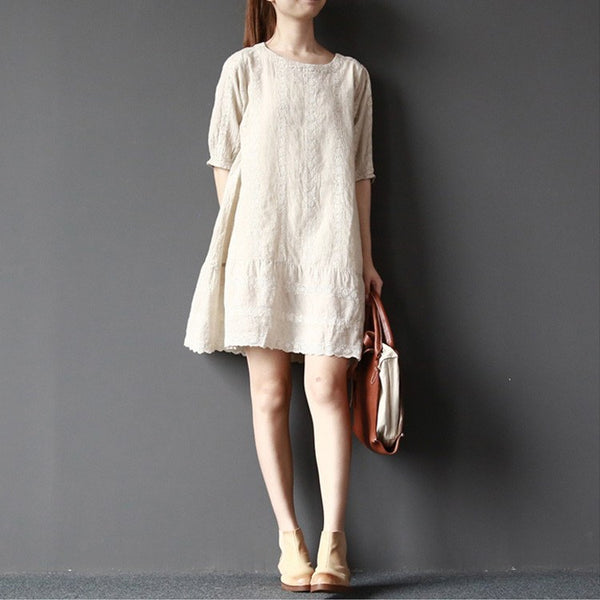 Women summer casual pullover cotton linen short dress - Buykud