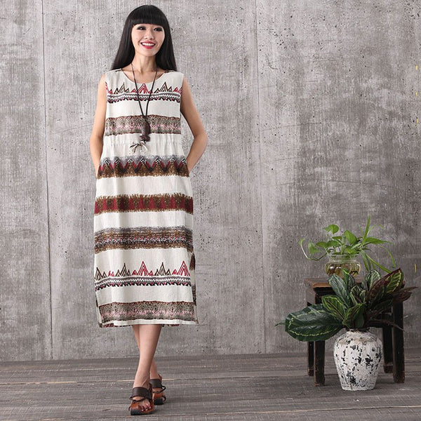 Dress - Women Summer Casual Sleeveless Stripe Strapless Loose Cotton Linen Vest Maxi Dress