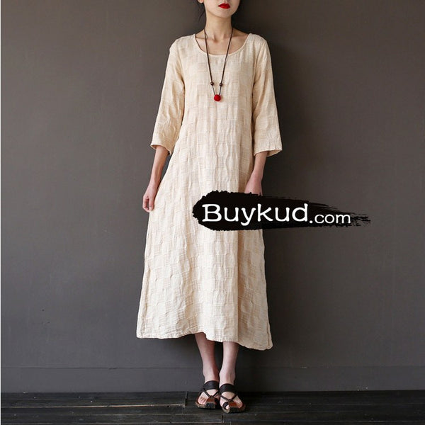 Women summer cotton linen loose dress - Buykud