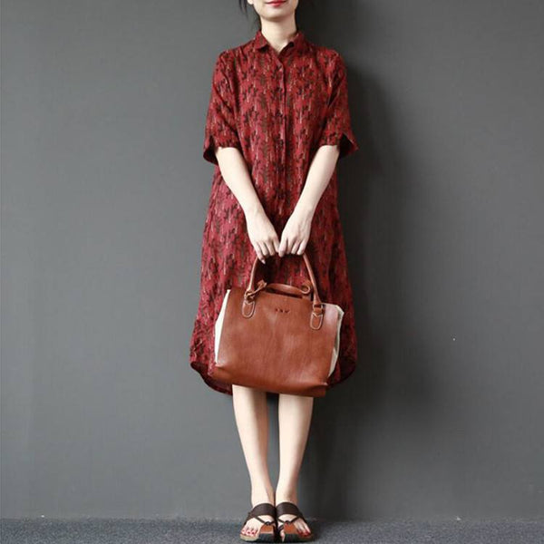 Dress - Women Summer Cotton Linen Printing Loose Dress