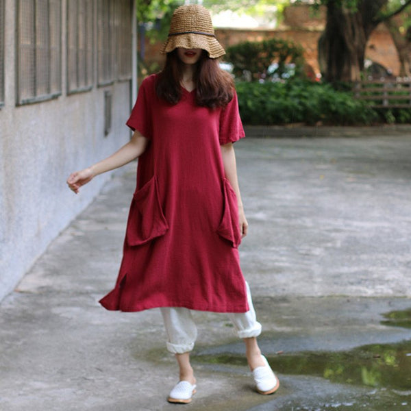 Women summer cotton linen solid color dress - Buykud