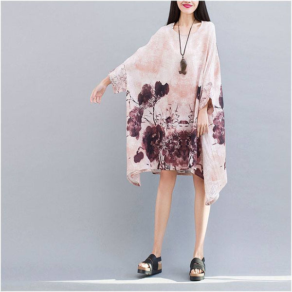 Dress - Women Summer Cotton Loose Large Size Printing Bat Sleeve Asymmetrical Dress